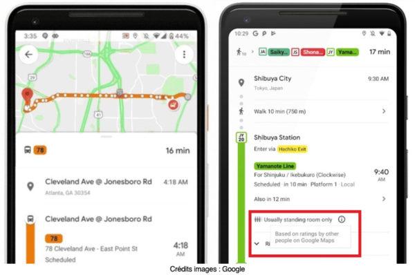 «Google Maps» va bientôt dire s'il reste des places dans le métro et le bus