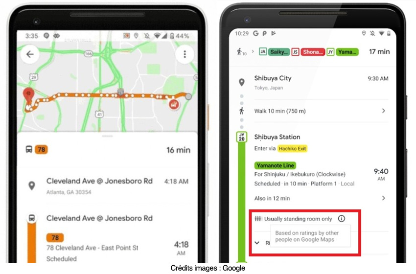 """""""Google Maps"""" va bientôt dire s'il reste des places dans le métro et le bus"""